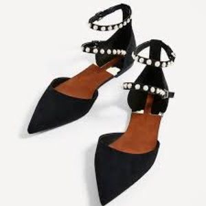 Zara D'Orsay Faux Suede Pearl Strap Flats Size 39